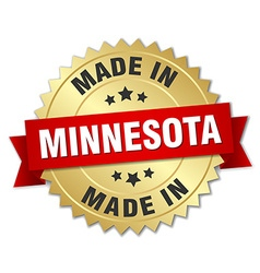 Made in minnesota gold badge with red ribbon vector