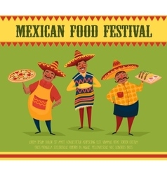 Mexican food chefs with pizza tacos and corn vector