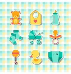 Newborn baby stuff icons stickers vector image vector image