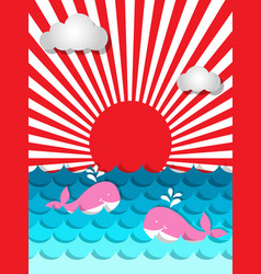pink whale swimming in the sea with sunshine and vector image vector image