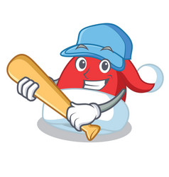 playing baseball christmas hat character cartoon vector image