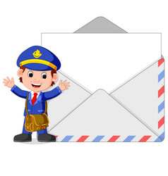 postman cartoon with big letter vector image vector image