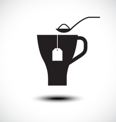 Pouring sugar in coffee or tea cup vector