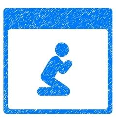 Pray person calendar page grainy texture icon vector