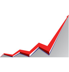 red arrow graph goes up on white background vector image vector image