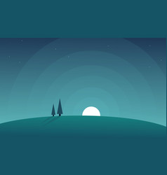Scenery hill at night background vector