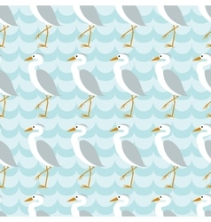 Seamless pattern with heron on blue wave vector