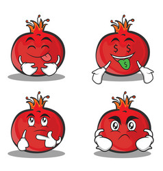 Set pomegranate cartoon character style collection vector