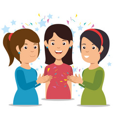smiling women clapping cheerful cartoon vector image