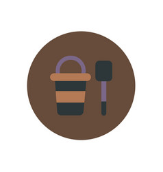 Stylish icon in color circle bucket shovel vector
