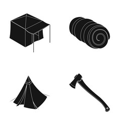 tent with awning ax and other accessoriestent vector image vector image