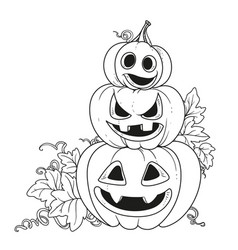 three lantern from pumpkins with the cut out of a vector image vector image