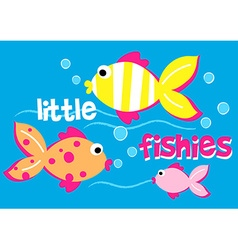 Three little fishies swimming in the sea vector image