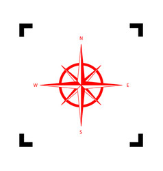 Wind rose sign red icon inside black vector