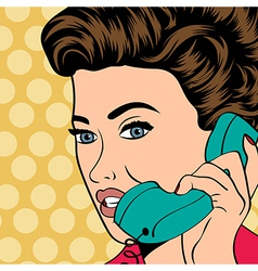 woman chatting on the phone pop art vector image vector image