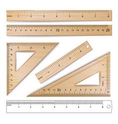 Wooden rulers set metric imperial vector