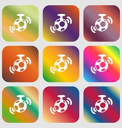 Mirror ball disco icon nine buttons with bright vector