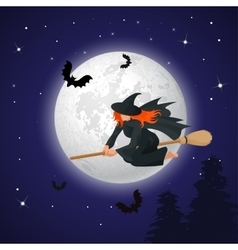 Silhouette of a witch flying on a broomstick vector