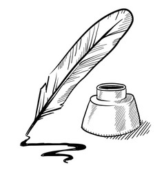Doodle pen feather ink vector