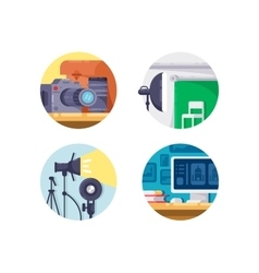 Photography industry icon collection vector