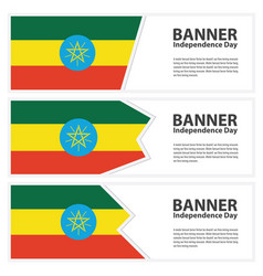 Ethiopia flag banners collection independence day vector