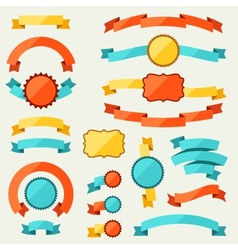 Banners ribbons badges tags and labels vector