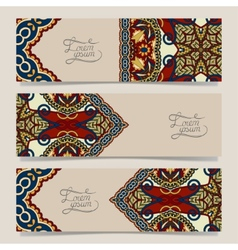 Three horizontal banners with decorative vector