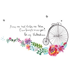 Watercolor flowers with bicycle vector