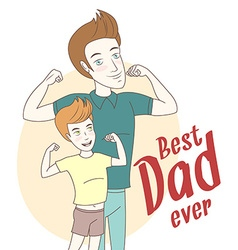 Father and son showing biceps hand drawn style vector