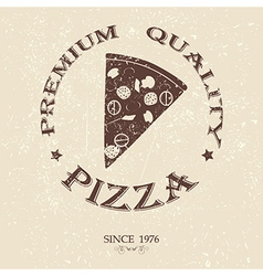 Premium pizza vintage label stamp banner design vector