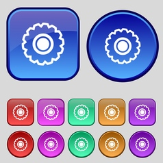 Cogwheel icon sign a set of twelve vintage buttons vector