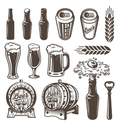 Set of vintage beer and brewery elements vector
