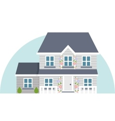 Grey two story house vector