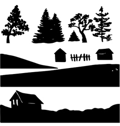 Silhouettes of rural elements vector