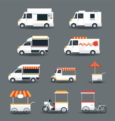 Food vehicles truck van pushcart white body vector