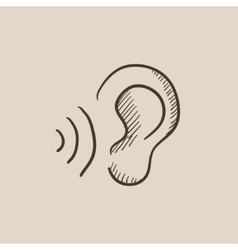 Ear and sound waves sketch icon vector