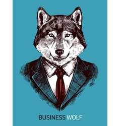 Hand drawn business wolf poster vector