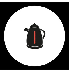 Electric kettle simple isolated black and red icon vector