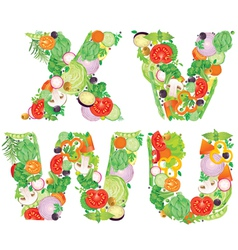 Alphabet of vegetables VWUX vector image vector image