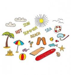 beach doodles vector image