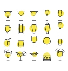 Beverage icons set cocktail drinks vector