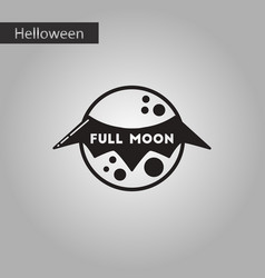 Black and white style icon full moon bat vector