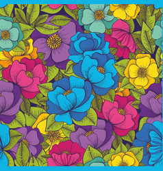 Colorful flowers hand drawing seamless pattern vector
