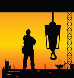 Construction worker silhouette on the work place vector