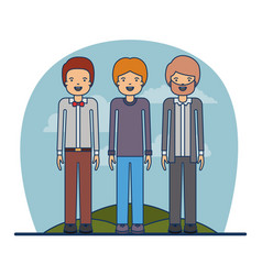 couple teacher profession men with clothes and vector image