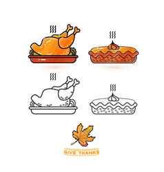 cute turkey and pie thanksgiving icons set vector image