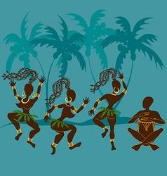 Dancing African aborigine girls and drummer vector image vector image