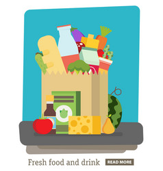 Flat design colored paper bagpackage with food vector
