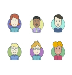 Flat line icons set of people stylish avatars vector image vector image