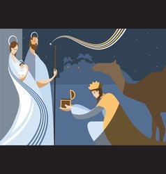 Flat nativity scene vector